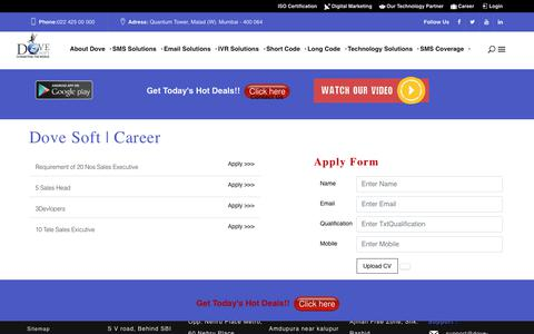 Screenshot of Jobs Page dove-soft.com - Dove Soft | Careers, Jobs, Opportunities - captured Sept. 12, 2018