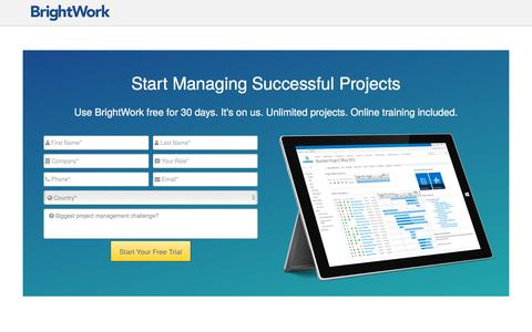 Screenshot of Trial Page brightwork.com - Free Trial - BrightWork - captured July 30, 2016