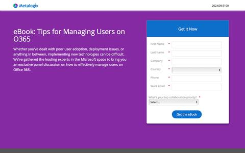 Screenshot of Landing Page metalogix.com - Tips for Managing Users on O365 - captured Oct. 23, 2017