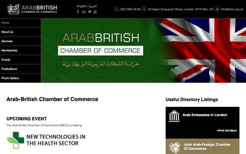 Screenshot of Home Page abcc.org.uk - Arab-British Chamber of Commerce (ABCC) - captured Nov. 21, 2016