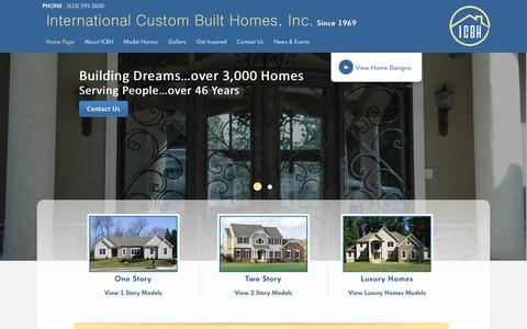 Screenshot of Home Page icbhi.com - Custom Home Builder | Lehigh Valley | International Custom Built Homes, Inc. - captured June 19, 2016