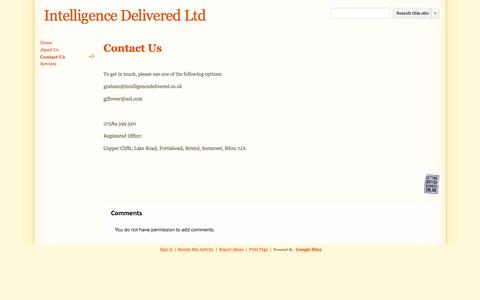 Screenshot of Contact Page intelligence-delivered.co.uk - Contact Us - Intelligence Delivered Ltd - captured Sept. 30, 2014