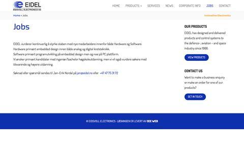 Screenshot of Jobs Page eidel.no - Jobs - Eidsvoll Electronics - captured July 6, 2017