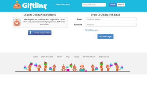 Screenshot of Login Page giftling.com - Giftling - captured Sept. 29, 2014