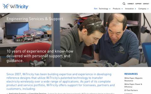 Screenshot of Support Page witricity.com - Engineering Services & Support • WiTricity - captured June 12, 2019