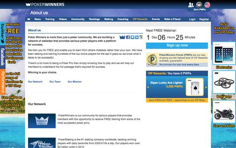 Screenshot of About Page pokerwinners.com - PokerWinners - About us - captured Sept. 30, 2014