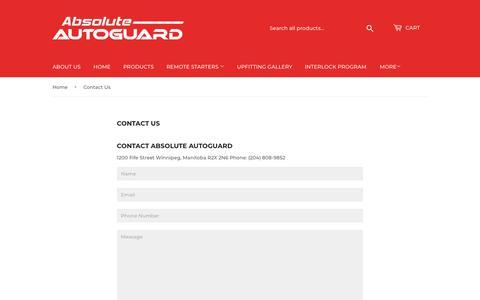 Screenshot of Contact Page absoluteautoguard.com - Contact Us – Absolute Autoguard - captured Nov. 6, 2018