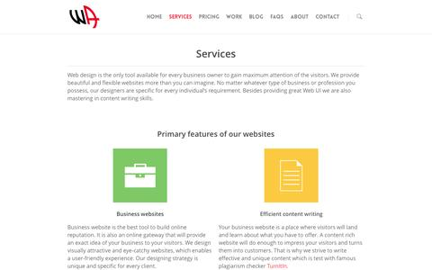 Screenshot of Services Page webage.in - Services | Web design services in Delhi India - captured Oct. 7, 2014