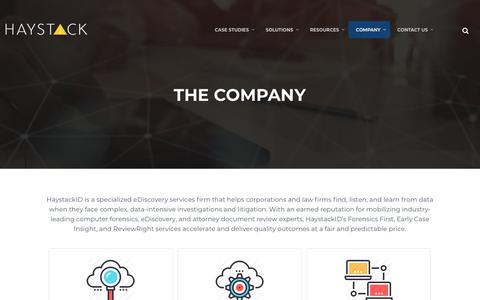 Screenshot of About Page Team Page haystackid.com - HaystackID - Company - captured July 14, 2018