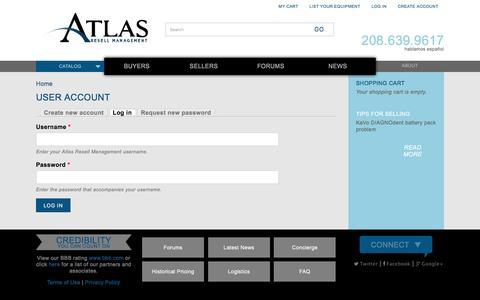 Screenshot of Login Page atlasresell.com - User account | Atlas Resell Management - captured Nov. 21, 2016