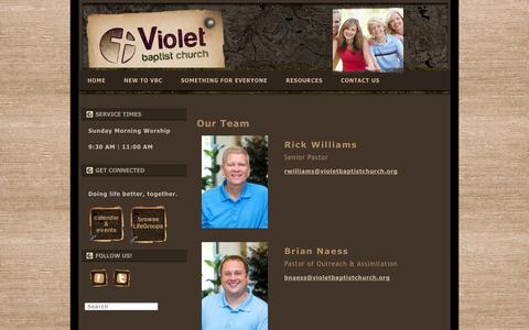 Screenshot of Team Page violetbaptistchurch.org - Our Team - Violet Baptist ChurchViolet Baptist Church - captured Oct. 9, 2014