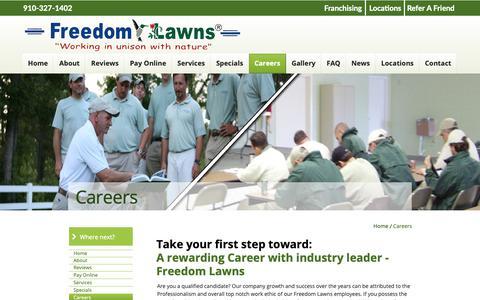 Screenshot of Jobs Page freedomlawnsjacksonville.com - Freedom Lawns of Jacksonville - captured Oct. 24, 2018