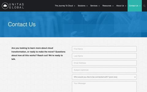 Screenshot of Contact Page unitasglobal.com - Contact Us - Unitas Global - captured Nov. 3, 2018
