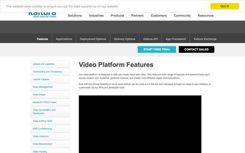 Screenshot of Products Page kaltura.com - Kaltura Video Platform | Video Platform Features - captured Nov. 25, 2015