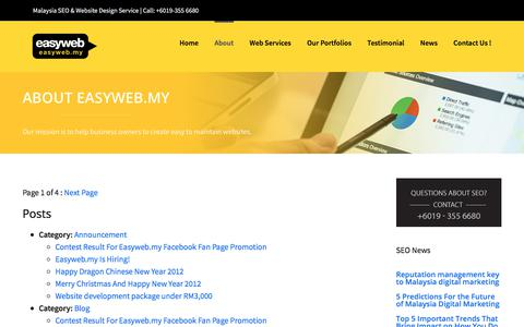 Screenshot of Site Map Page easyweb.my - Sitemap Archives - Malaysia Search Engine Optimization (SEO) & Website Design Services - captured Oct. 10, 2017
