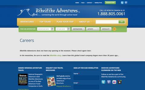 Screenshot of Jobs Page bikehike.com - Careers at BikeHike Adventures| BikeHike Adventures - captured Sept. 22, 2018