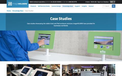Screenshot of Case Studies Page imageholders.com - imageHOLDERS Tablet and iPad Enclosure Case Studies - captured June 8, 2017