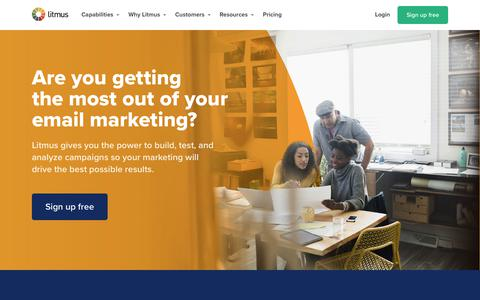 Screenshot of Home Page litmus.com - Are you getting the most out of your email marketing? – Litmus - captured Oct. 14, 2019