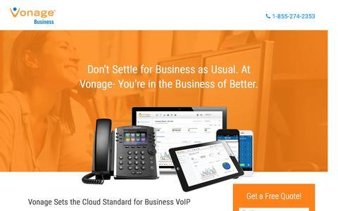 Screenshot of Landing Page vonage.com - Business VoIP | Vonage BusinessVonage Business - captured Feb. 16, 2016