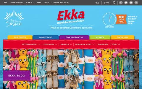 Screenshot of Blog ekka.com.au - Social Hub - Ekka Royal Queensland Show - captured Feb. 21, 2016