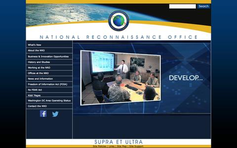 Screenshot of Home Page nro.gov - National Reconnaissance Office : 50 Years of Supra Et Ultra - captured Jan. 26, 2015
