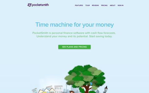 Screenshot of Home Page pocketsmith.com - PocketSmith – Smart budgeting & personal finance software - captured Sept. 24, 2015