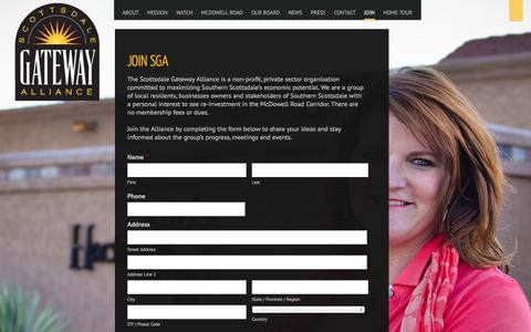 Screenshot of Signup Page scottsdalegatewayalliance.com captured Sept. 30, 2014