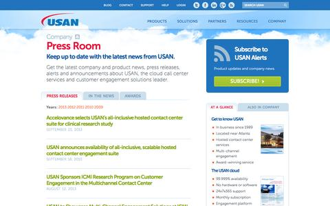 Screenshot of Press Page interactivesoftworks.com - The USAN Press Room | USAN - captured Sept. 30, 2014