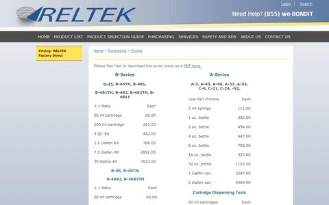 Screenshot of Pricing Page reltekllc.com - Reltek > Purchasing > Pricing - captured Oct. 7, 2014