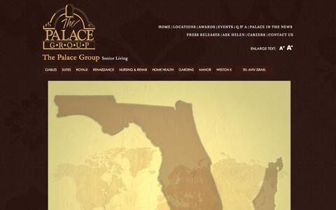 Screenshot of Maps & Directions Page thepalace.org - The Palace Group | Senior Living Communities Locations - captured Feb. 15, 2016