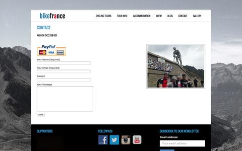 Screenshot of Contact Page thecyclinglife.com.au - Contact » Bike France - captured Oct. 7, 2014