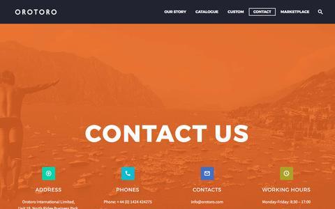 Screenshot of Contact Page orotoro.com - Contact Us | Orotoro Sport & Retail Merchandise, - captured June 13, 2017