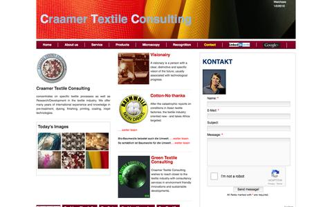 Screenshot of Contact Page Site Map Page craamer.com - Craamer Textile Consulting-Contact - captured Feb. 1, 2016