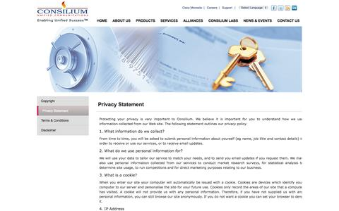 Screenshot of Privacy Page consiliuminc.com - Privacy Statement - captured Sept. 13, 2014