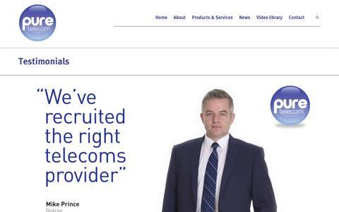 Screenshot of Testimonials Page pure-telecom.co.uk - Testimonials | Pure Telecom - Telecommunications Shropshire - captured Dec. 12, 2015