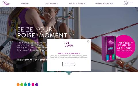 Screenshot of Home Page poise.com - Poise® Bladder Leakage Pads, Liners & Community Support - captured June 21, 2017