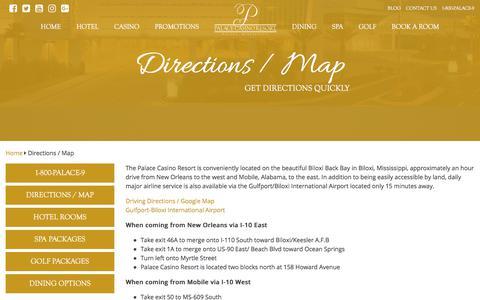 Screenshot of Maps & Directions Page palacecasinoresort.com - Directions and Map | Palace Casino Resort | Biloxi, MS - captured July 15, 2018