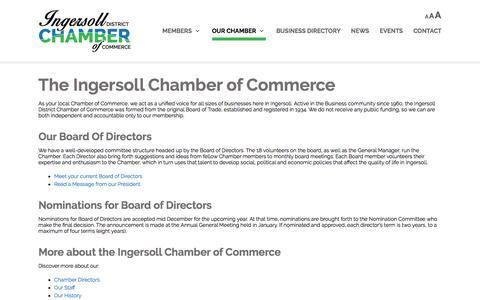 Screenshot of About Page ingersollchamber.com - Ingersoll Chamber of Commerce |   Local Chamber of Commerce details, current Board of Directors Ingersoll SW Ontario - captured Nov. 26, 2016