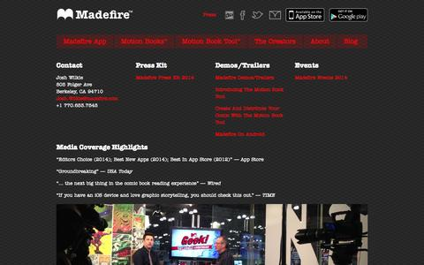 Screenshot of Press Page madefire.com - Press | Madefire - captured Sept. 16, 2014