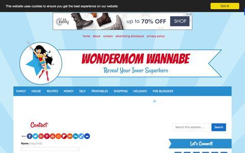 Screenshot of Contact Page wondermomwannabe.com - Contact - captured Oct. 20, 2015