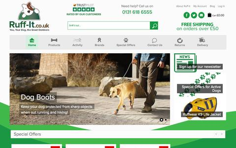 Screenshot of Home Page ruff-it.co.uk - Dog Accessories   Ruff-It   Dog outdoor jackets and coats   Dog Life Jackets - captured Oct. 7, 2014