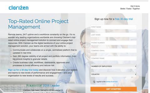 Screenshot of Landing Page clarizen.com - Online Project Management Software l Clarizen - captured Nov. 13, 2016
