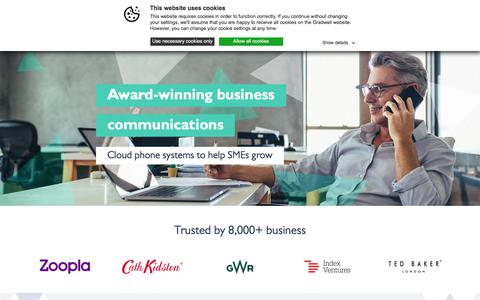 Screenshot of Home Page gradwell.com - Gradwell Communications | VoIP | 3cx | Cloud Phone Systems - captured Aug. 20, 2019
