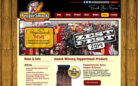 Screenshot of Press Page peppersmack.com - PepperSmack - News - Articles - Award-Winning PepperSmack Products - captured Oct. 2, 2014