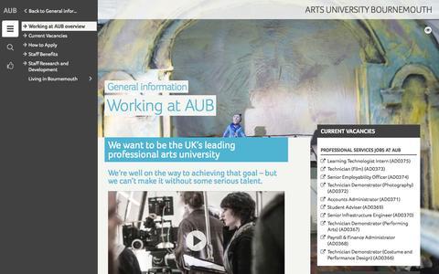 Screenshot of Jobs Page aub.ac.uk - Working at AUB - Arts University Bournemouth - captured Jan. 20, 2016
