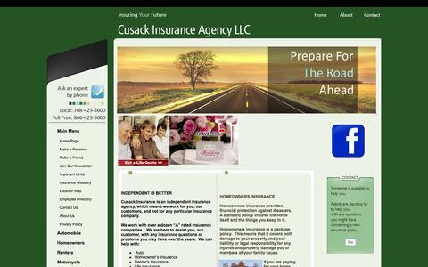 Screenshot of Home Page cusackinsurance.com - Cusack Insurance Agency LLC - Cusack Insurance Agency - captured Oct. 3, 2014