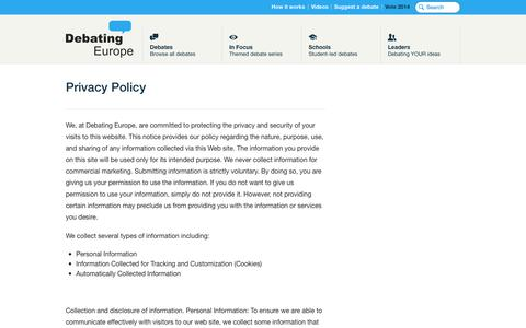 Screenshot of Privacy Page debatingeurope.eu - Privacy Policy — Debating Europe - captured Sept. 23, 2014
