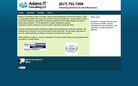 Screenshot of About Page adamsitconsulting.net - Adams IT Consulting - captured Oct. 4, 2014