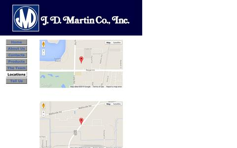 Screenshot of Locations Page jdmartin.com - About Us - captured Oct. 3, 2014