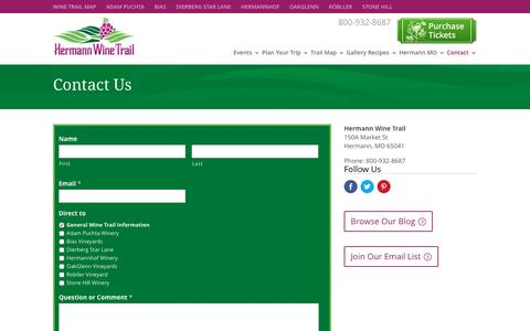 Screenshot of Contact Page hermannwinetrail.com - Contact Us | Hermann Vintners Association | 150A Market St, Hermann MO 65041 | 800-932-8687 | 573-486-2744 - captured May 18, 2017